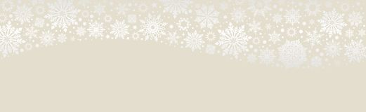 Snowflakes Χριστουγέννων διανυσματικό έμβλημα Ιστού ecru διανυσματική απεικόνιση