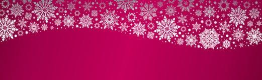 Snowflakes Χριστουγέννων διανυσματικό κόκκινο ασημένιο έμβλημα Ιστού απεικόνιση αποθεμάτων