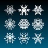Snowflakes Χριστουγέννων που τίθενται με τα περίπλοκα όμορφα και filigree συρμένα χέρι αστέρια χιονιού για τις διακοσμήσεις διακο Ελεύθερη απεικόνιση δικαιώματος