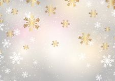 Snowflakes Χριστουγέννων σε ένα χρυσό υπόβαθρο διανυσματική απεικόνιση