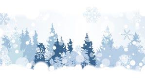 Snowflakes Χριστουγέννων στο υπόβαθρο με μια σκιαγραφία των δέντρων Β διανυσματική απεικόνιση