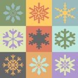 snowflakes χρωμάτων τρύγος απεικόνιση αποθεμάτων