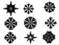 Snowflakes 1. Black vector snowflakes set on white surface Royalty Free Stock Image