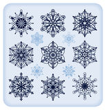 Snowflakes. Set of thirteen different decorative and detailed snowflakes Stock Image