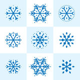 Snowflakes. Nine holiday snowflakes to use individually, in groups or as a background. A retro 50s designed, colorful, unique illustration from award winning Stock Photos