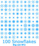 Snowflakes. Blue snowflakes on white background - Big set 100 royalty free illustration