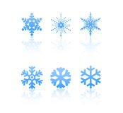 Snowflakes. 6 snowflakes isolated on a white background stock illustration