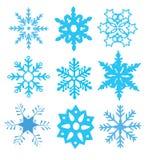 Snowflakes. Vector nine blue different snowflakes Stock Photo