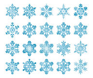 Snowflakes. Image set of 20 stylized snowflakes stock illustration