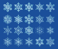 Snowflakes. Image set of 20 stylized snowflakes royalty free illustration