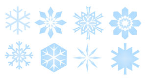 Snowflakes. Shapes of snowflakes on white, isolated Royalty Free Stock Photos