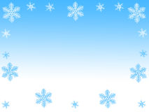 Snowflakes. Illustration with blue and white snowflakes on gradient blue background . Useful for greeting cards, postcards or backgrounds Royalty Free Stock Photography