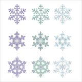 Snowflakes. An illustration. Multi-coloured snowflakes. Christmas design elements vector illustration