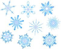 Snowflakes. Collection of 9 snowflakes,  Vector Illustration snowflake are individual isolated objects which can be rearranged Stock Photos