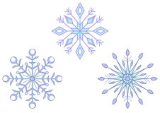 Snowflakes. Winter set: three beautiful snowflakes isolated on the white Stock Image