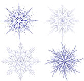 Snowflakes. Four snowflakes. Illustration can be used as a background Stock Images