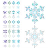 Snowflakes. An illustration. Multi-coloured  Christmas design elements royalty free illustration