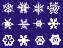 Snowflakes. In twelve different shapes royalty free illustration
