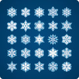 Snowflakes. Icons set of 25 beautiful original snow flakes Royalty Free Stock Images