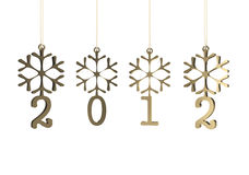 Snowflakes with 2012 year. 3D image Royalty Free Stock Images
