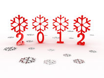 Snowflakes with 2012 year. 3D image. Snowflakes with 2012 year on white background. 3D image Royalty Free Stock Images