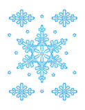 Snowflakes. Decorative  snowflakes ornament on white background Royalty Free Stock Images