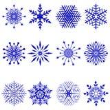 Snowflakes. Set of 12 beautiful snowflakes Stock Image