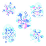 Snowflakes. Set of five colorful snowflakes Royalty Free Stock Images