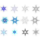 Snowflakes. Set of six snowflakes blue stars Stock Photography