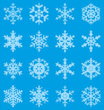 Snowflakes. Set of 16  snowflakes Stock Photography