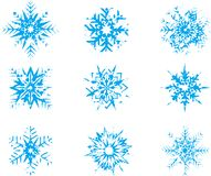 Snowflakes. Vector Set of blue snowflakes at style grunge Royalty Free Stock Photos