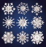 Snowflakes. Set of diamond snowflakes Royalty Free Stock Photo
