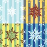 Snowflakes. Seamless patterns (Four color variants Royalty Free Stock Photo