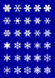Snowflakes. 30 snowflakes on blue background, vector illustration Royalty Free Stock Photo