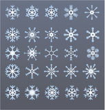 Snowflakes. Vectors of 25 different snowflakes Royalty Free Stock Photo