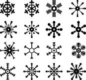 Snowflakes. Vectors of 16 different snowflakes Royalty Free Stock Images