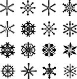 Snowflakes. Vectors of 16 different snowflakes Stock Photography