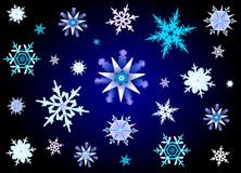 Snowflakes. Festive Christmas illustration of snowflakes falling on blue-black background royalty free illustration