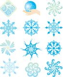 Snowflakes. Twelve beautiful different snowflakes isolated on white - vector Royalty Free Illustration