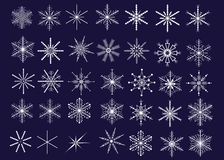 Snowflakes. Collection of 35 decorative snowflakes. Vector illustration Royalty Free Stock Photos