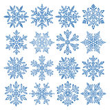 Snowflakes. Icon set. 16 different Vector Illustration