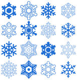 Snowflakes. Snowflake set. Blue objects on white. Vector Royalty Free Stock Photos