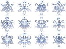 Snowflakes. Icon set Royalty Free Stock Photo