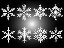 Snowflakes. Isolated snowflakes in different variations.Vector illustration Royalty Free Stock Photo