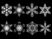 Snowflakes. Isolated snowflakes in different variations Stock Photos