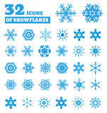 Snowflakes. A Set Of 32 Icons. Royalty Free Stock Photography