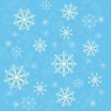 Snowflakes abstract background on blue Stock Photos