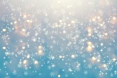 Snowflakes on an abstract shiny light background royalty free illustration