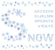 Snowflakes alphabet Royalty Free Stock Photography