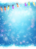 Snowflakes ans Light Garlands. EPS 10 Royalty Free Stock Photo